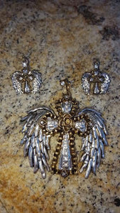 Silver Multi Color Cross Angel Wing Pendant & Earring Set  3-5 DAYS SHIPPING