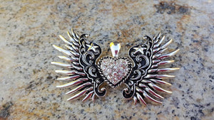 Silver tone Crystal Heart Wing Pendant  3-5 DAYS SHIPPING