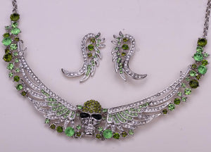 Angel Wings & Skull Rhinestone Encrusted Necklace & Earring Set
