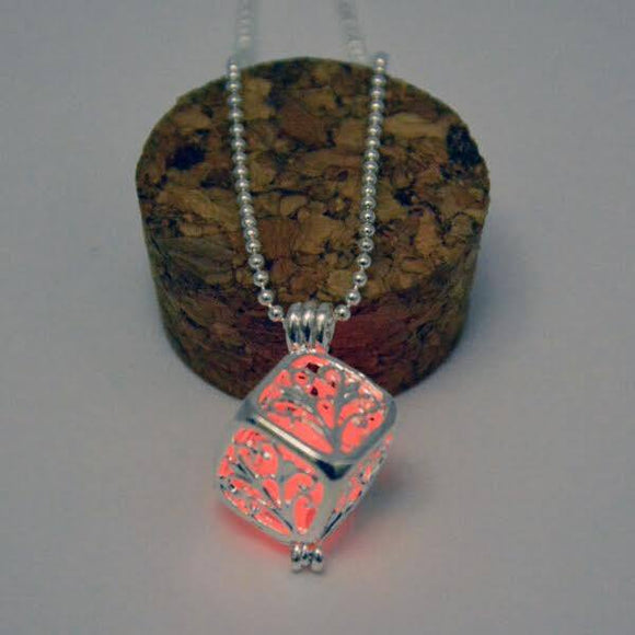 Pink Glow in the Dark Hollow Box Pendant  3-5 DAYS SHIPPING