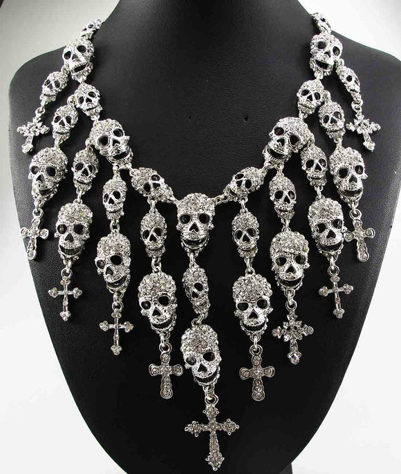 Crystal Encrusted Skull Choker Necklace Pendant 5-10 DAYS SHIPPING