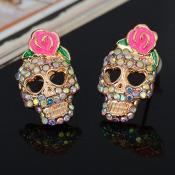 Rose & Skull Imitation Diamond Stud Earrings  3-5 DAYS SHIPPING
