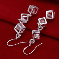 925 Sterling Silver Rubiks Cube Bracelet & Earring Set 3-5 DAY SHIPPING