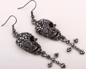 Rhinestone Skull & Cross Dangle Earrings