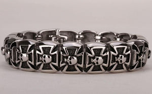 Heavy Duty Stainless Steel 316L Men's Skull Cross Bracelet