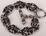 Heavy Duty Stainless Steel Skull with Red Eye Men's Bracelet
