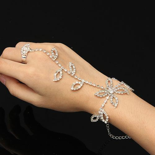Rhinestone Leaf Flower Hand Harness Chain Link Bracelet (gift boxed)  3-5 DAYS SHIPPING