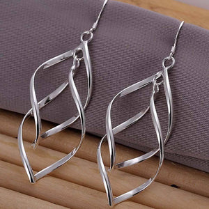 Sterling Silver Leaf Drop Hook Earrings  3-5 DAYS SHIPPING