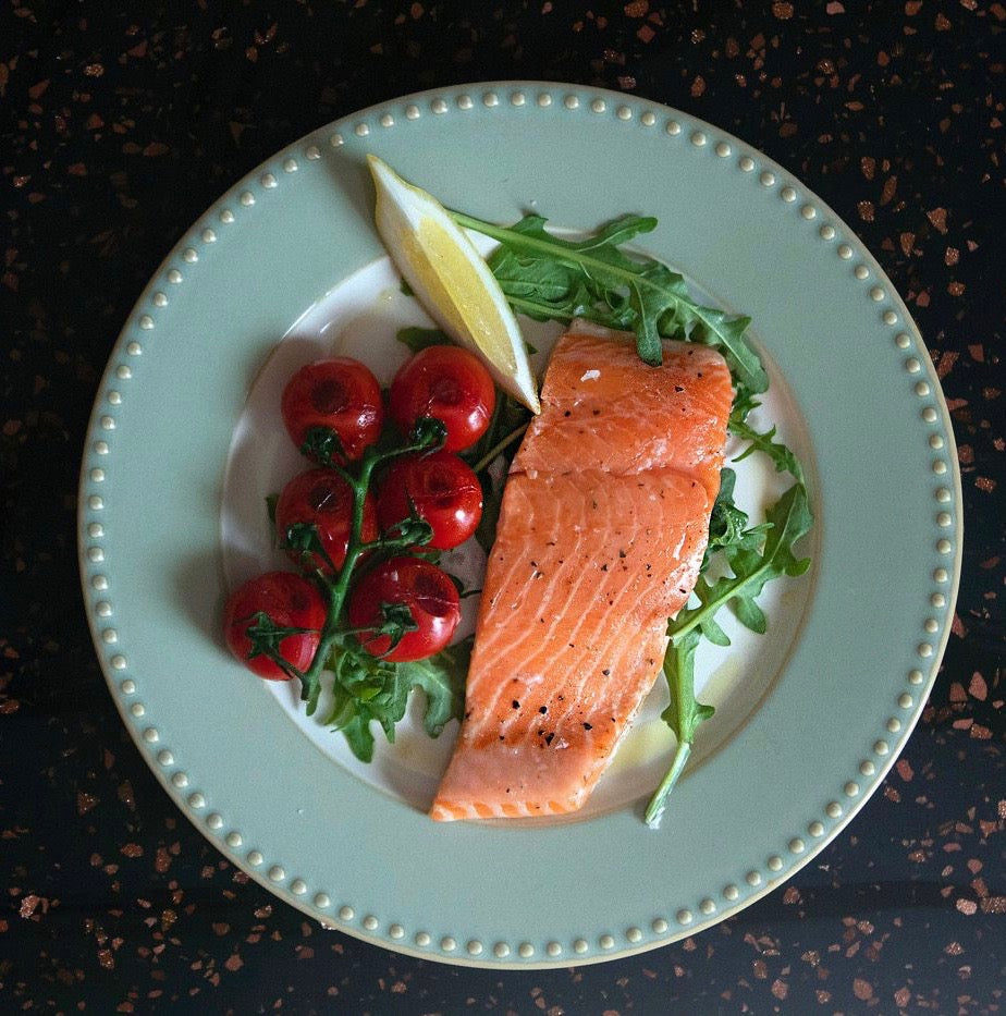 Salmon Fillet with cherry tomatoes precise cooking on indoor grill
