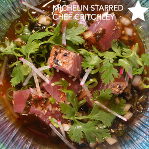 Easy Tuna Poke Bowl Recipe on cinder grill indoor precision grill