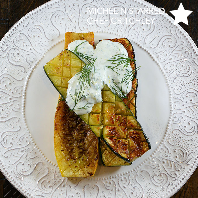Roasted Summer Squash & Zucchini with Yogurt on precision grill Cinder grill