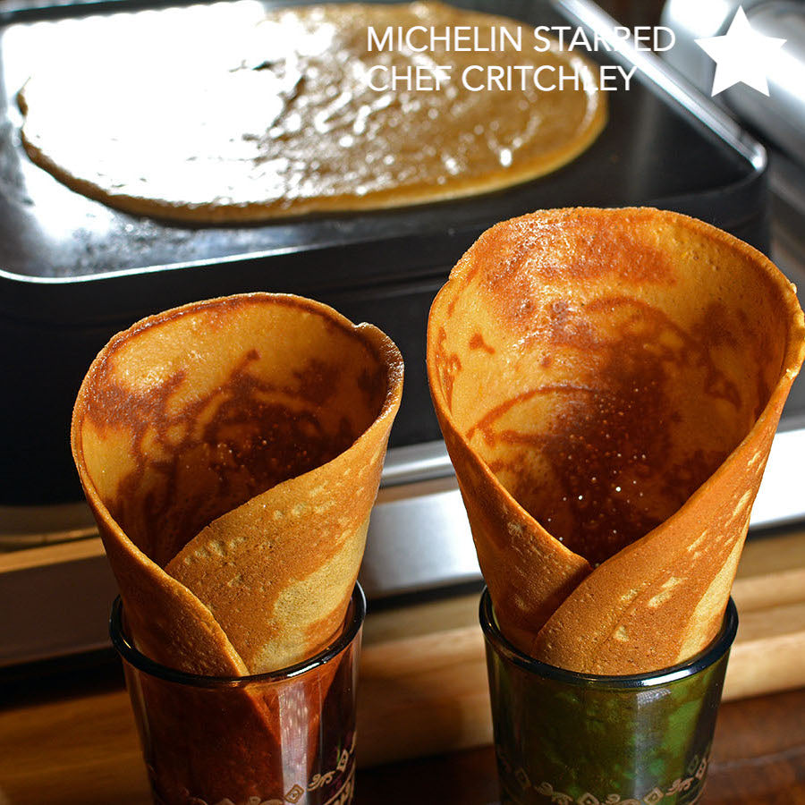 Muscavado sugar & orange zest ice cream cones prepared on Cinder grill world's first indoor precision grill recipe