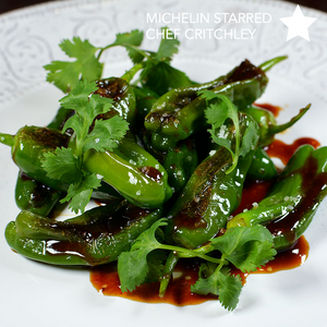 Shishito Peppers with Ginger Kabayaki Glaze cooked on Cinder grill precision cooker indoor grill