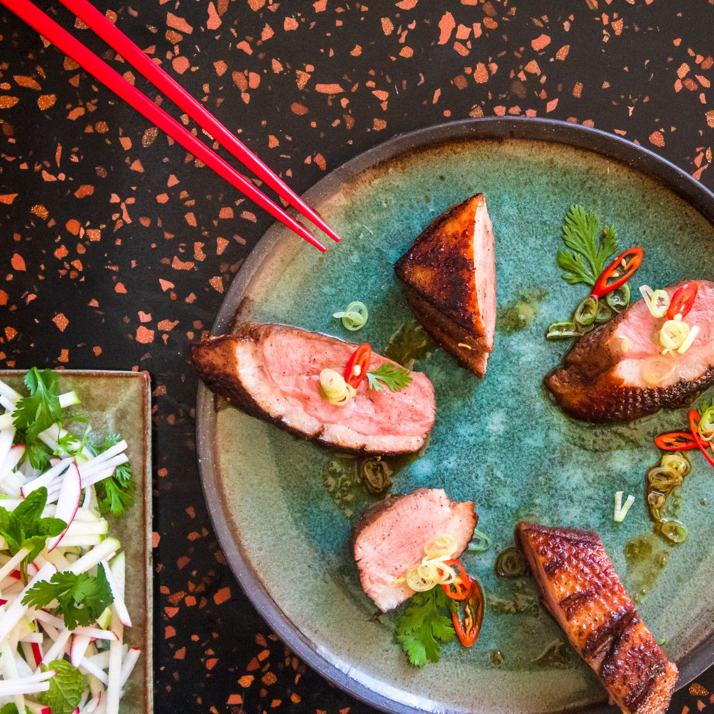 Cinder Recipe Duck Breast Crispy Skin Apple Kohlrabi Slaw