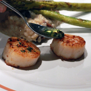 Scallop grilled perfectly on indoor grill cinder grill
