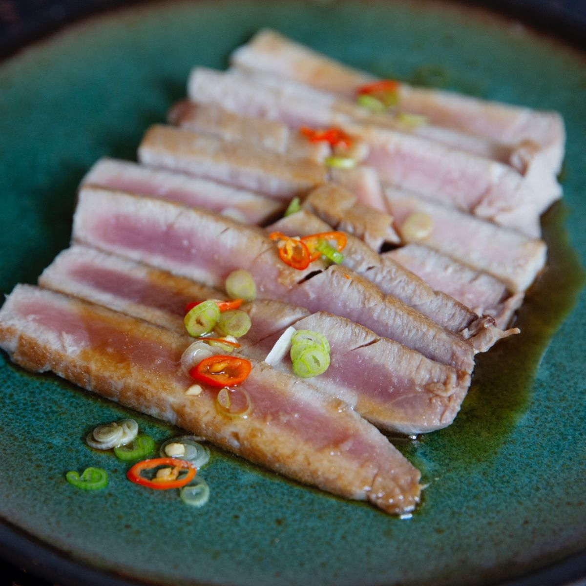 Seared Tuna Cinder Grill Sous Vide Recipe Soy Mirin Dressing