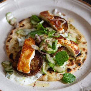 Eggplant and Halloumi Flatbreads