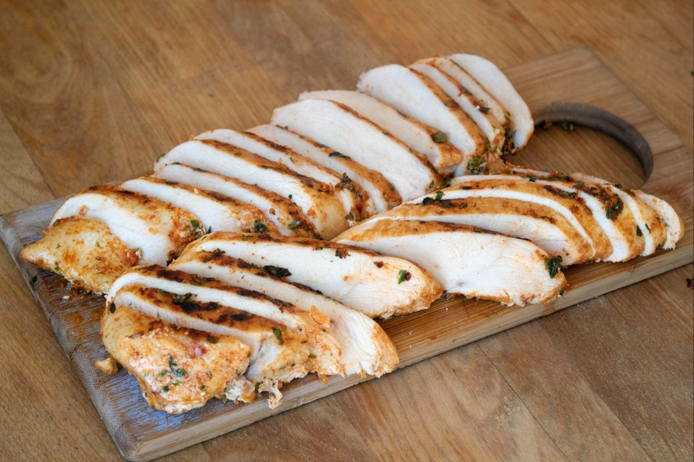 Marinated chicken breast with spices cooked on sous vide easy precise cooker Cinder Grill's Chicken Breast Sous Vide Chicken Breast Tender Chicken Juicy Chicken Breast