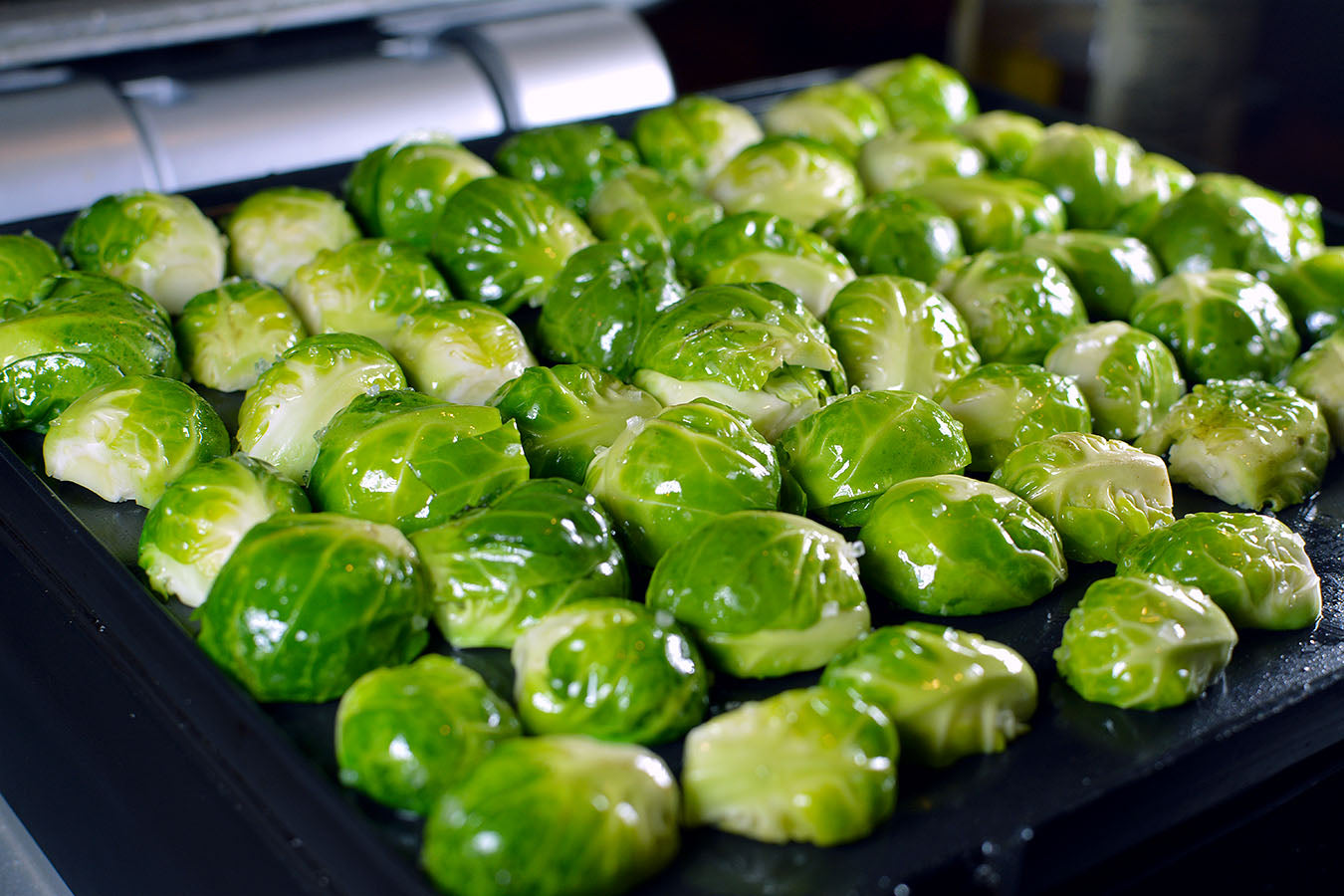 Roasted Brussels Sprouts with Lemon, Parsley and Olive Oil perfect on cinder grill  indoor precision cooker