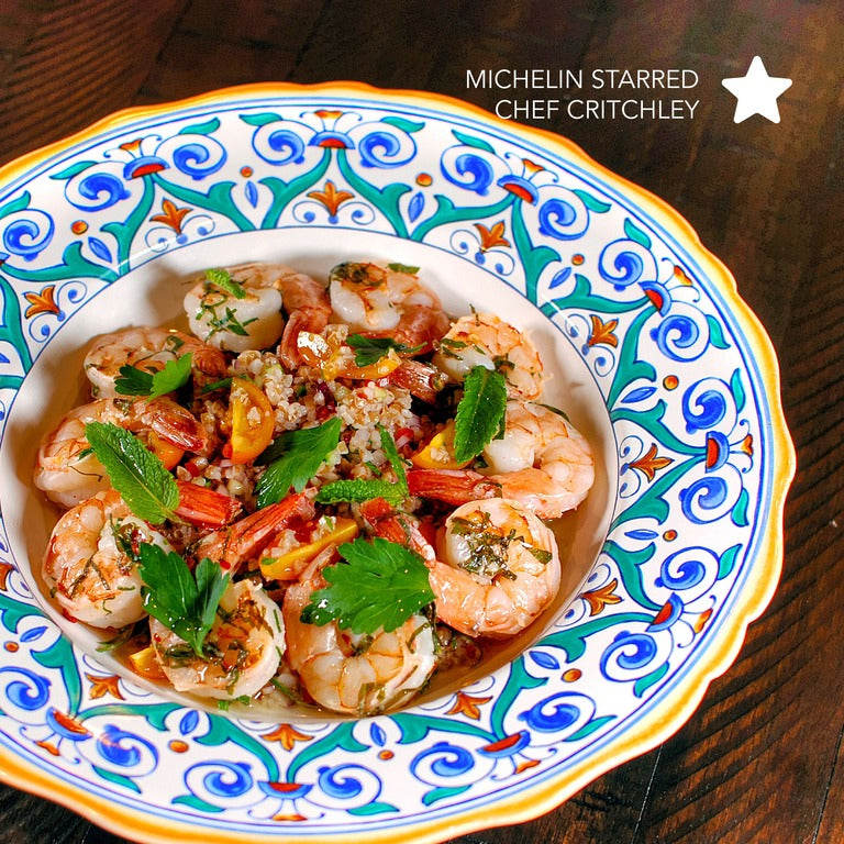 Garlicky shrimp and bulgur wheat salad  by michelin starred chef cooked on indoor grill precision grill using sous vide techniques ideal for seafood