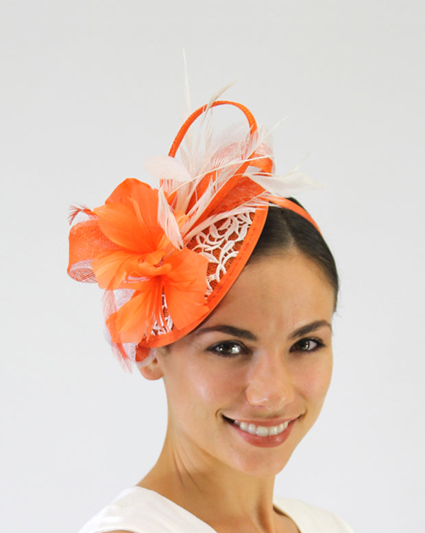 JENDI Tangerine Lace & Feather Fascinator