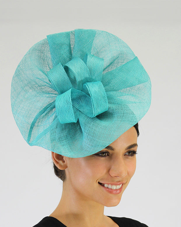 JENDI Sea Green Ruffled Side Plate Fascinator