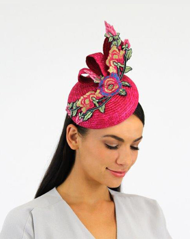 JENDI Fascinator Fuchsia w/ Pink Embroidered Floral