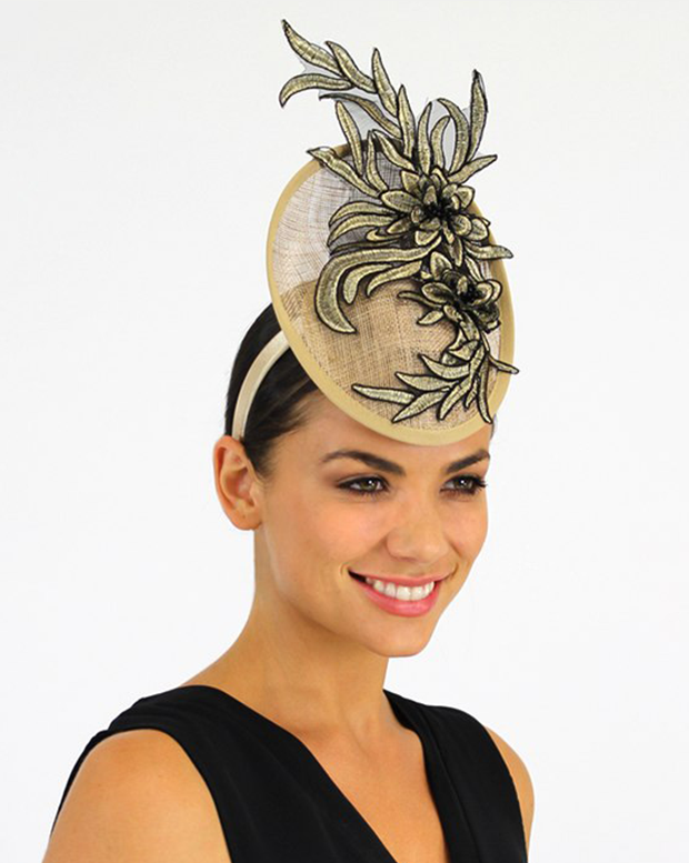 Percher Fascinator Beige w/ Black & Golden Flowers