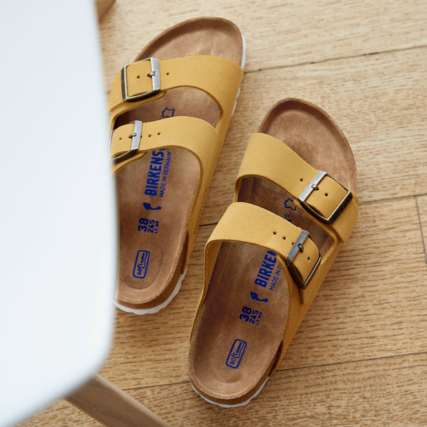 Arizona Suede Leather Soft Footbed Sandal Ochre