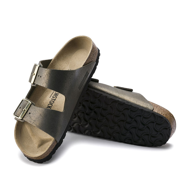Arizona Washed Metallic Leather Sandal - Stone Gold