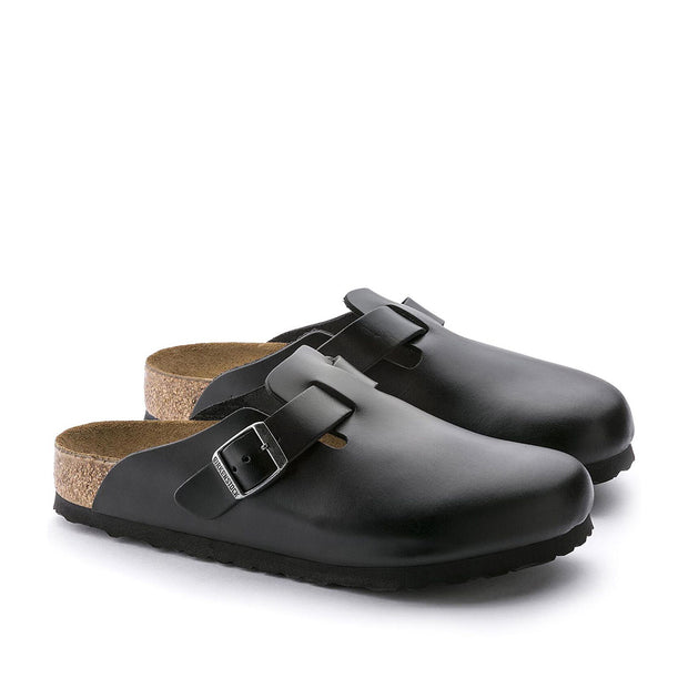 Boston Smooth Leather Soft Footbed Clog - Black