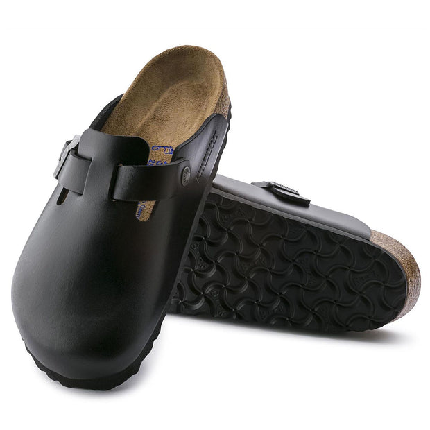 BIRKENSTOCK Boston Black Smooth Leather Soft Footbed