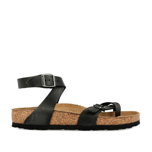 Yara Oiled Leather Sandal - Black