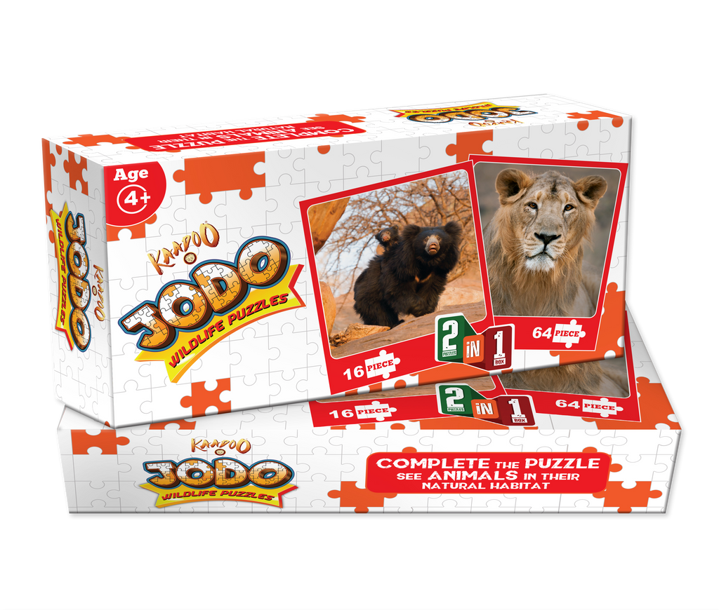 Jodo Wildlife 2-in-1 Puzzle (Lion + Sloth Bear) by Kaadoo