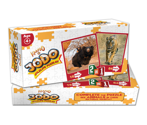 Jodo Wildlife 2-in-1 Puzzle (Bengal Tiger + Sloth Bear) by Kaadoo
