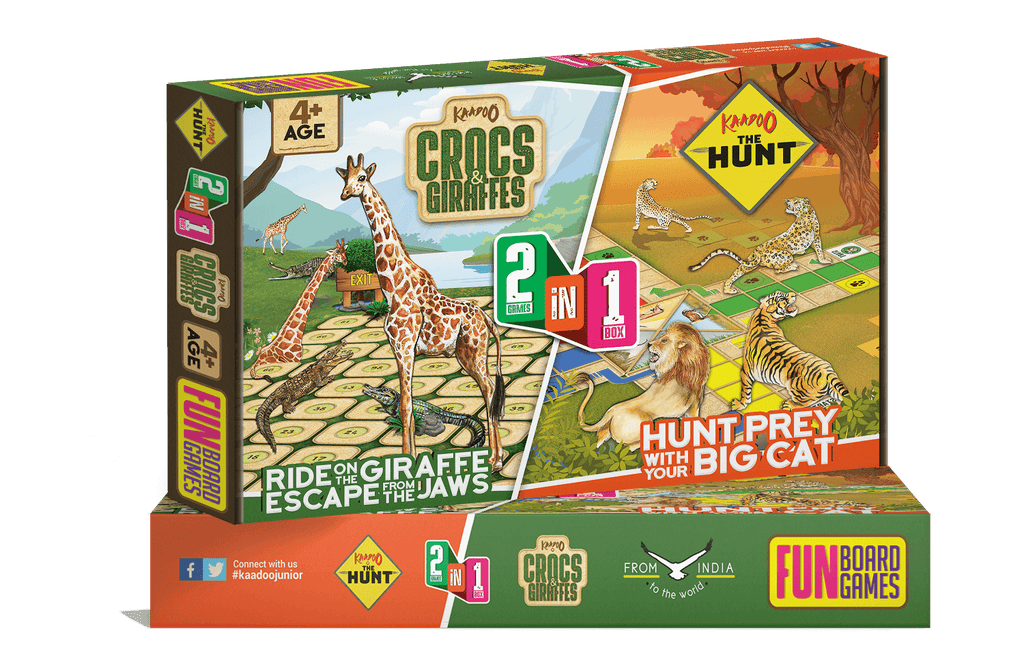 Crocs & Giraffes + The Hunt 2-in-1 Board Game by Kaadoo