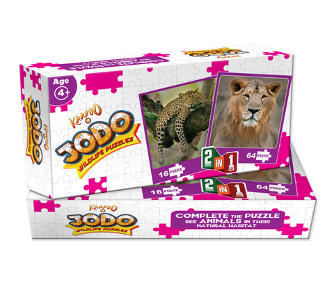 Jodo Wildlife 2-in-1 Puzzle (Lion + Leopard) by Kaadoo