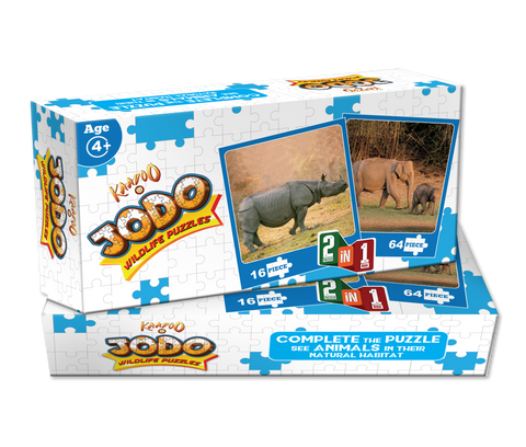 Jodo Wildlife 2-in-1 Puzzle (Elephant + Rhino) by Kaadoo