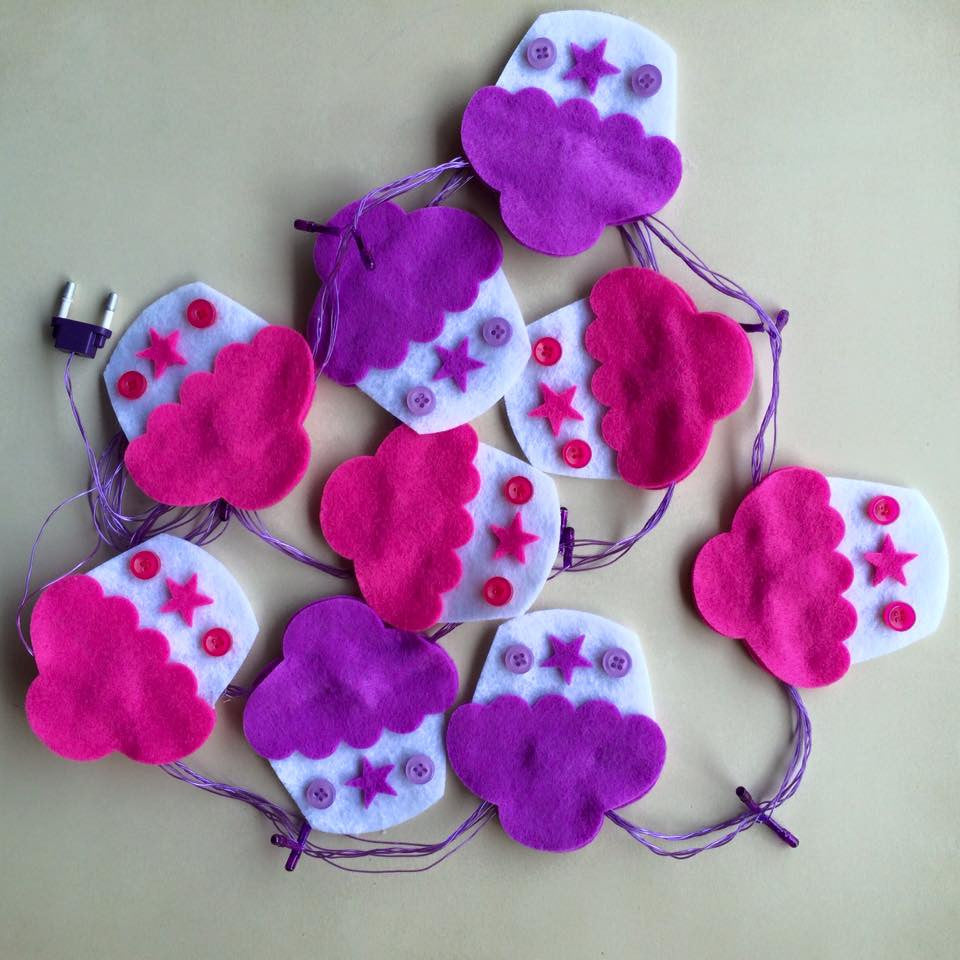Pink & Purple Cupcake Fairy Lights by Fairytales