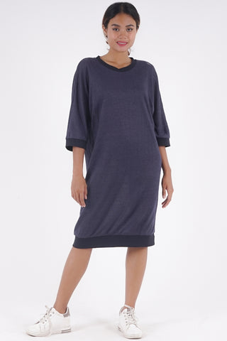 Slouch Dress - Navy Linen