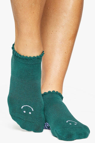 Happy Grip Full Foot Sock - Dark Green