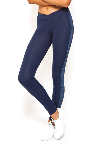 V Front Full Length Legging - Navy
