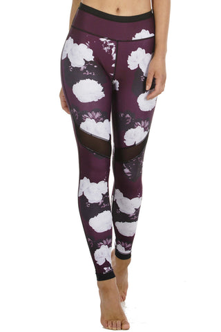 Burgundy Bloom Full Length Legging