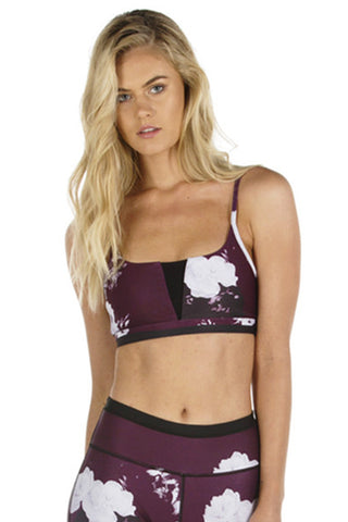 Burgundy Bloom Sports Bra