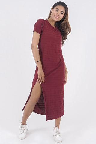 Actually Everyday Dress - Dark Cherry Stripe