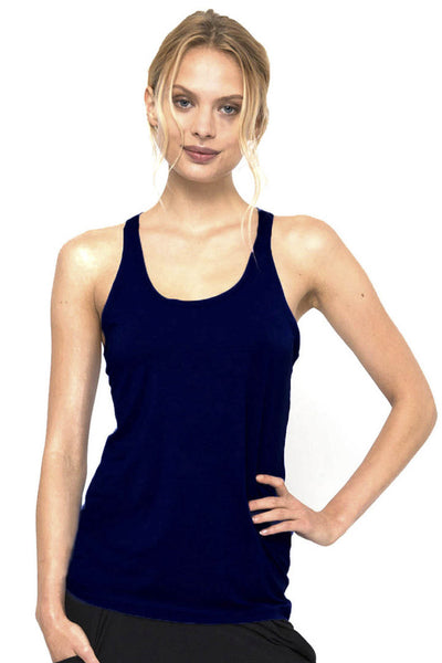 Bamboo Twisted Back Tee - Navy