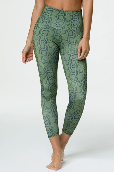 High Basic Midi Legging - Olive Cobra