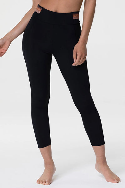 Shimmer Midi Legging - Black/Gold