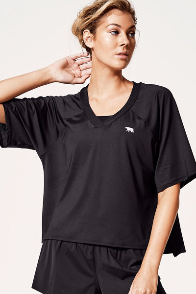 Double Play Cropped Tee - Black