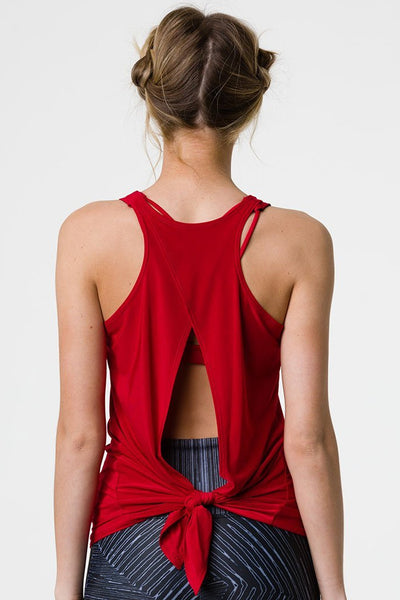 Tie Back Tank Top - Red